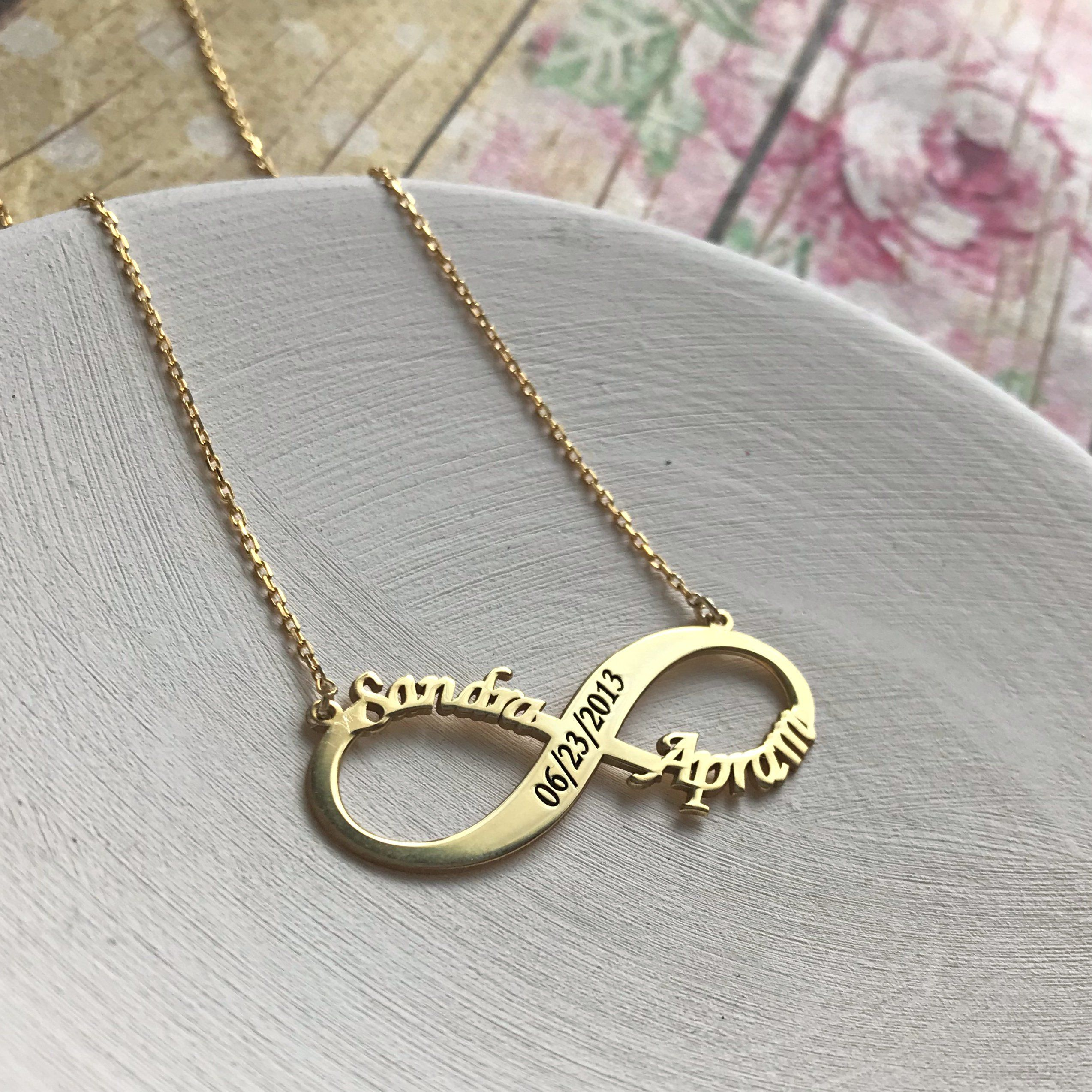 7dfd735924362 Gold Personalized Infinity Necklace, Custom Infinity Necklace, Name ...