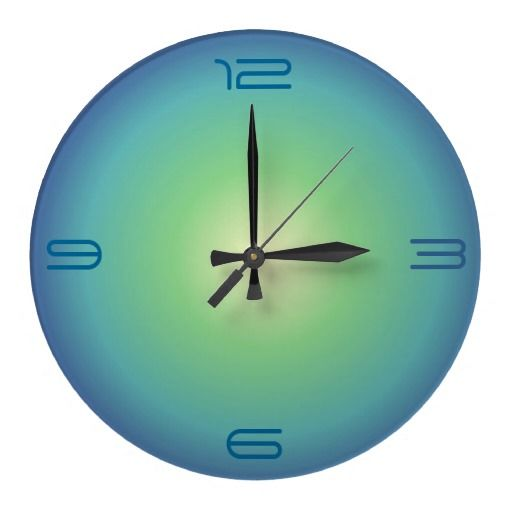 A minimalist round clock illuminated in aquagreen blue.Available as a square wallclock.