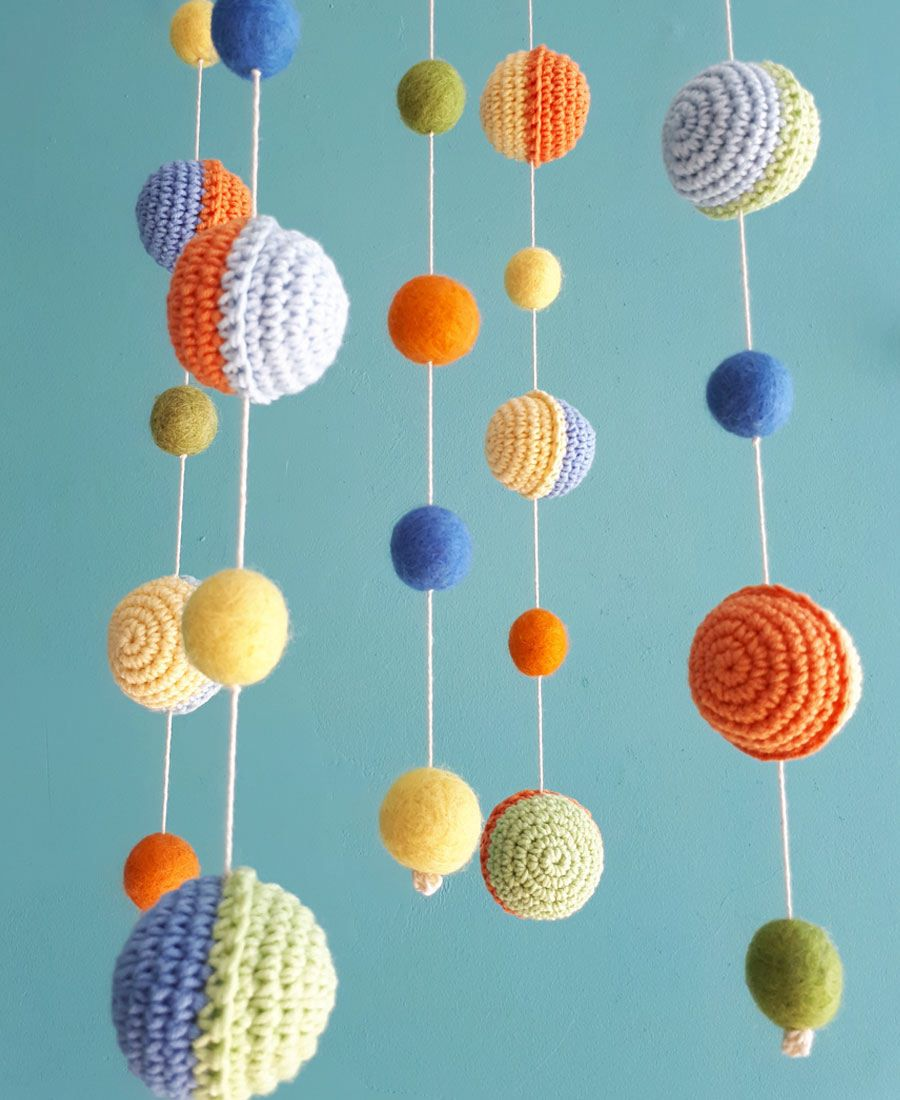 Planets Baby Mobile E Nursery Decor Boy Hanging Felt Ball Crochet Crib Neutral Newborn Gift Natural Room Cot