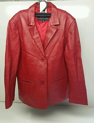 Prouds Of Australia Ladies Size 16 Red Lambskin Leather Jacket In