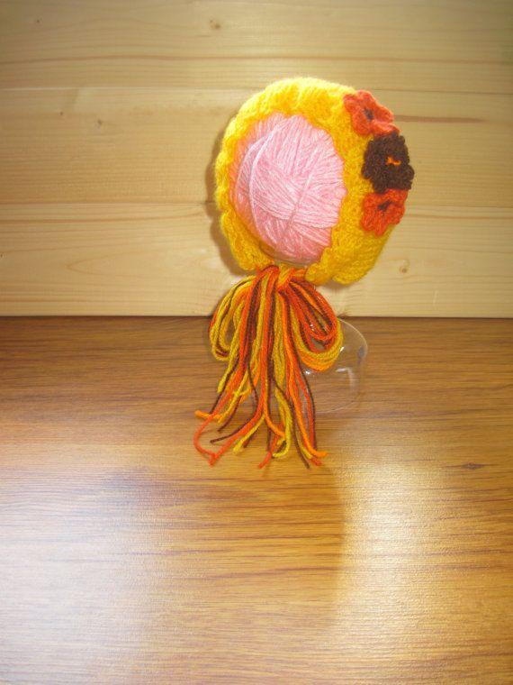 Newborn hat Yellow Baby girls Bonnet Girl by KnitCrochetbyMarina, 16.00
