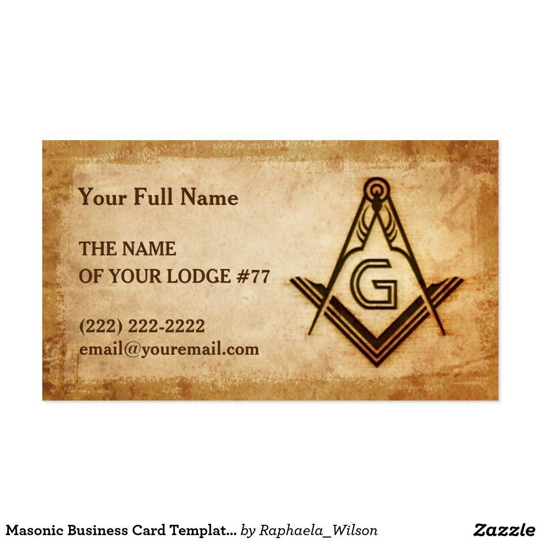 Masonic Business Card Template Rustic Parchment Custom Masonic