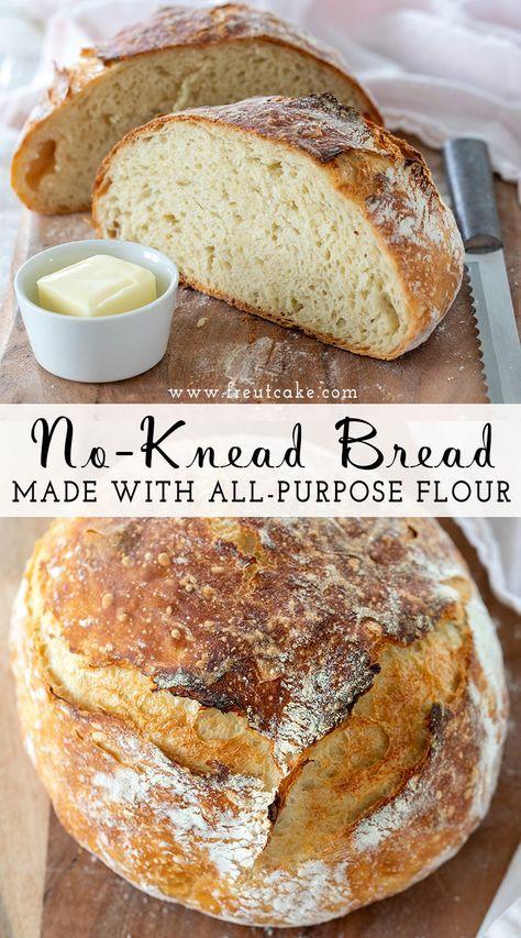 An easy tried and true no-knead bread recipe using 4 simple ingredients including all purpose flour. #nokneadbread #dutchoven #breadrecipe #homemadebread #easyrecipe