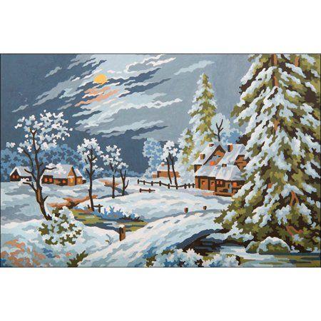Snowy Chapel Grafitec Printed Tapestry//Needlepoint Kit