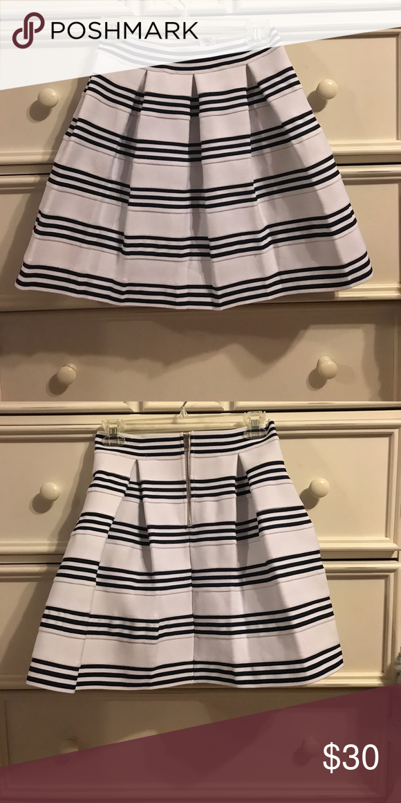 49a4f97e09 Francesca's skirt Navy and white skirt. Thick and stiff fabric but  waistline is stretchy! Francesca's Collections Skirts Mini