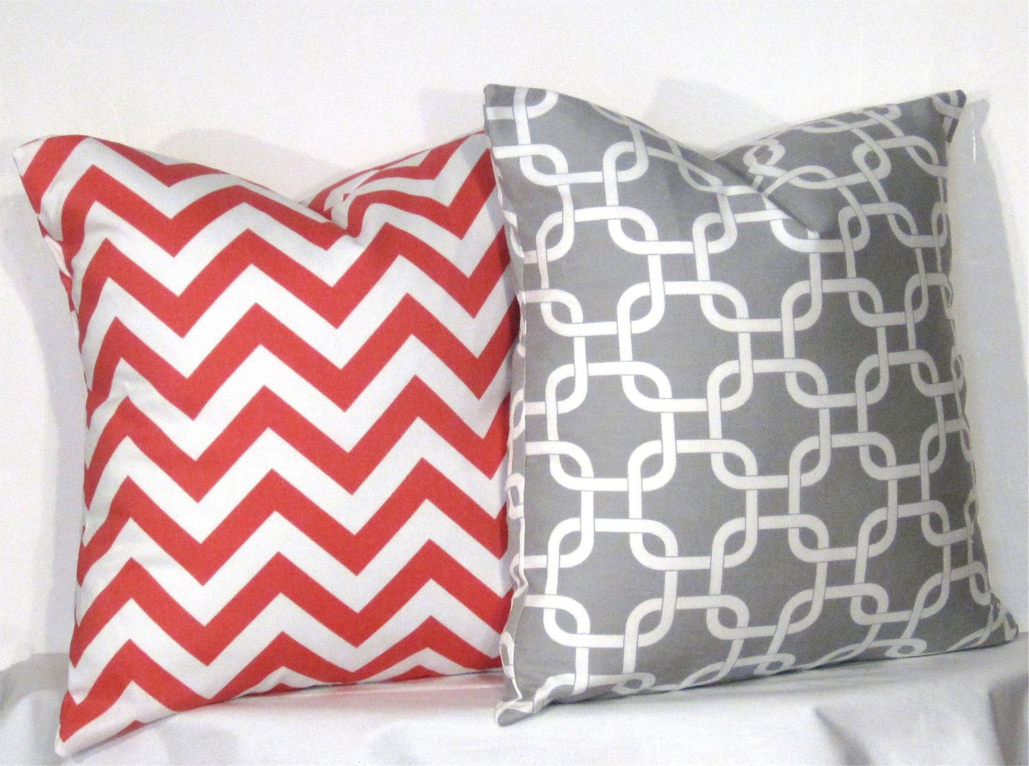 """Set of Two - 16"""" x 16"""" Chevron Pillow Covers - Grey and Coral ..."""