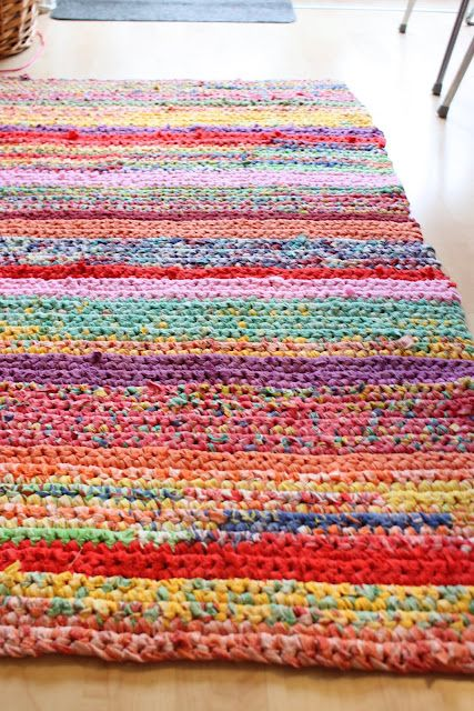 Crochet Rug From Old Sheets T Shirts Etc