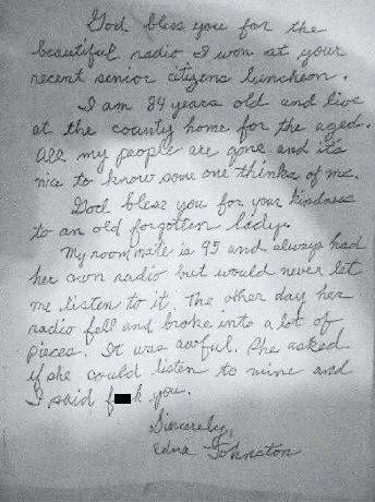 Elderly Prizewinneru0027s Thank You Note\/F You Note Epistolary - nursing thank you letter