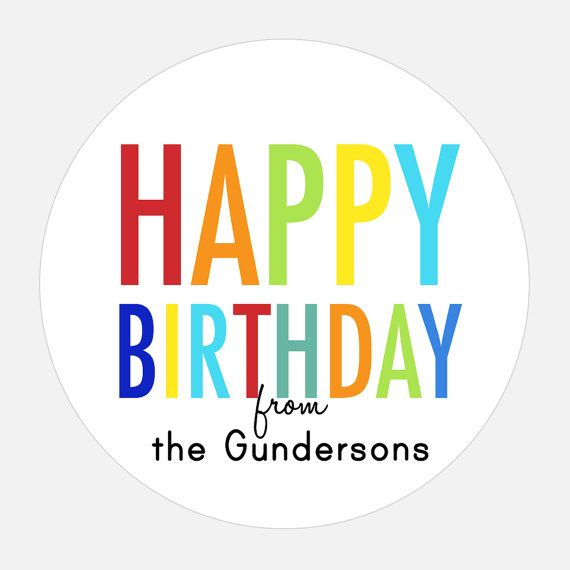Happy Birthday Gift Stickers Personalized Rainbow Tags Girl Boy