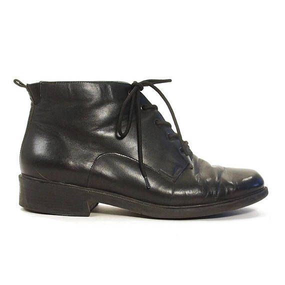 90s Lace Up Ankle Boots Vintage 1990s Black Leather Grunge