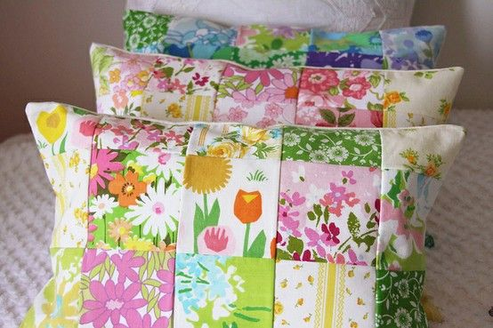"""I love vintage bed sheet patterns.  So much that I don't want them on my bed, gettin dirty with my face (I hardly ever """"have the time"""" to wash my makeup off, terrible yes).  So here we see a nice way to 'meet in the middle'.  Plus, a square pattern is the easiest way to start learning how to quilt ;)"""