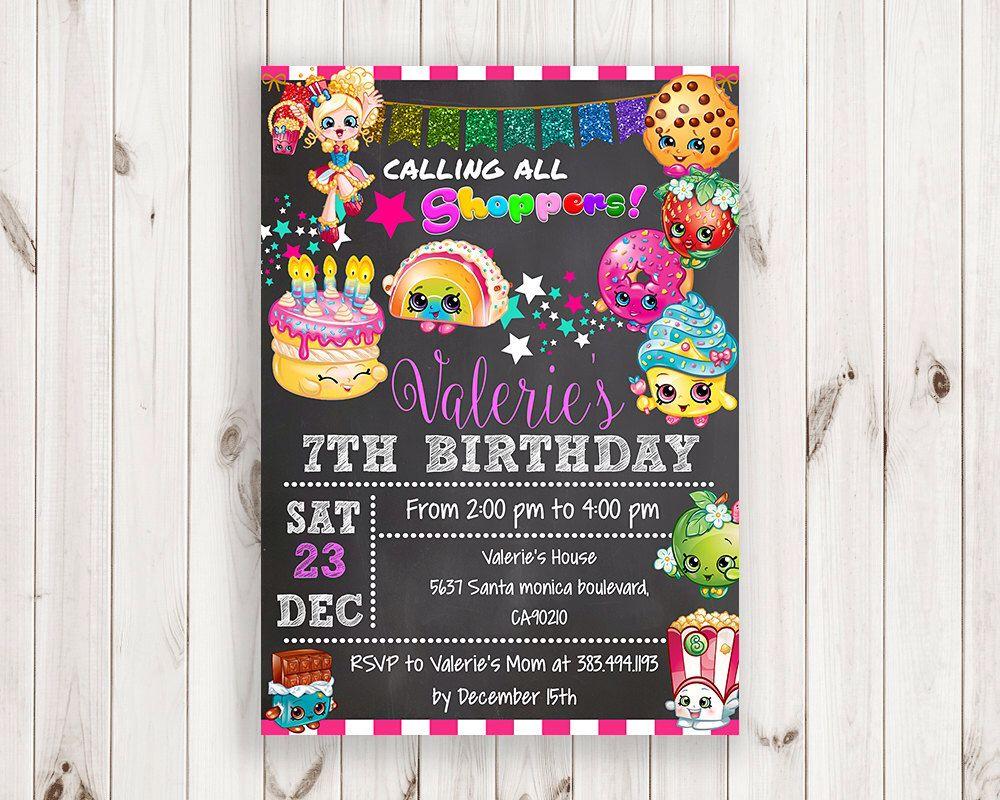 Shopkins Invitation Shopkins Birthday Invitation Shopkins