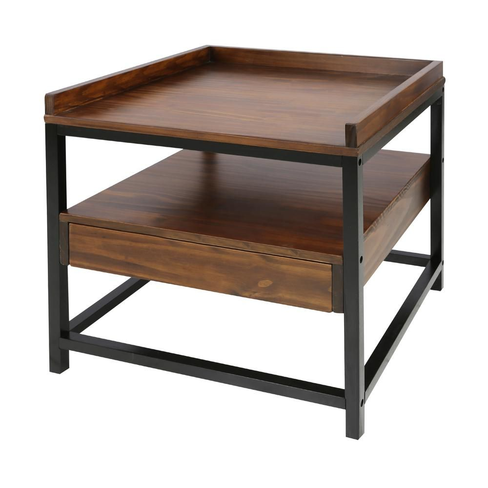 Casual Home Horizon End Table With Drawer Two Tone Mocha Black