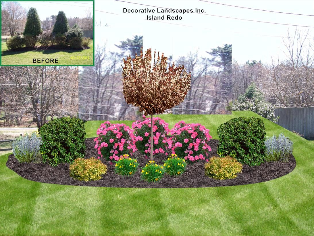 Could make this work for where that wierd bush thing used for Front yard flower bed designs