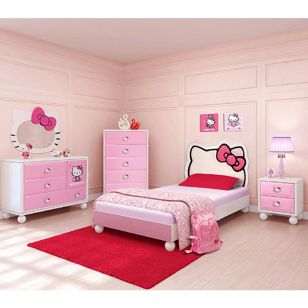 Bedroom in a Box Twin Bed Furniture Set Hello Kitty