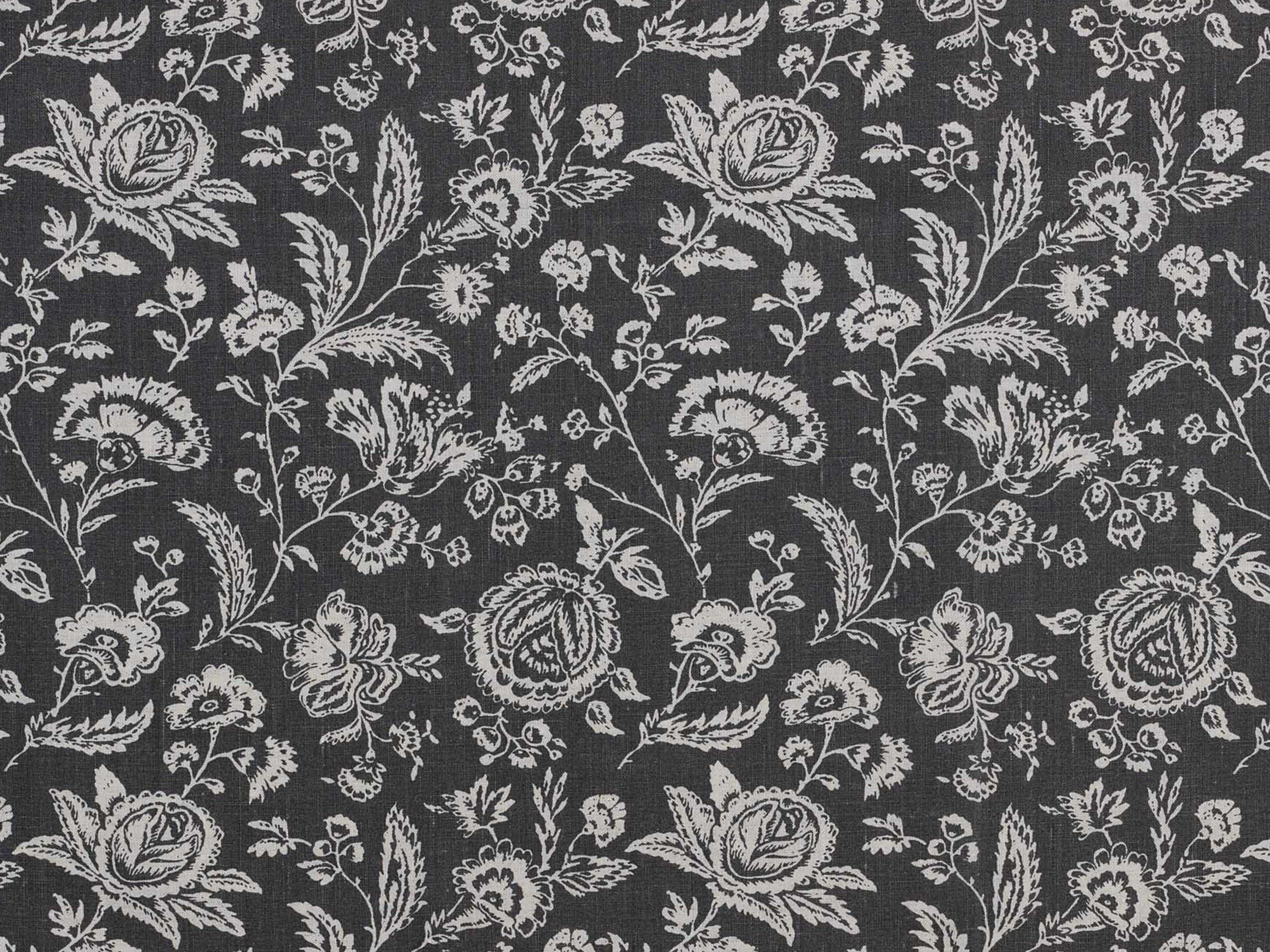 Cabbages Roses French Toile Black Fabric