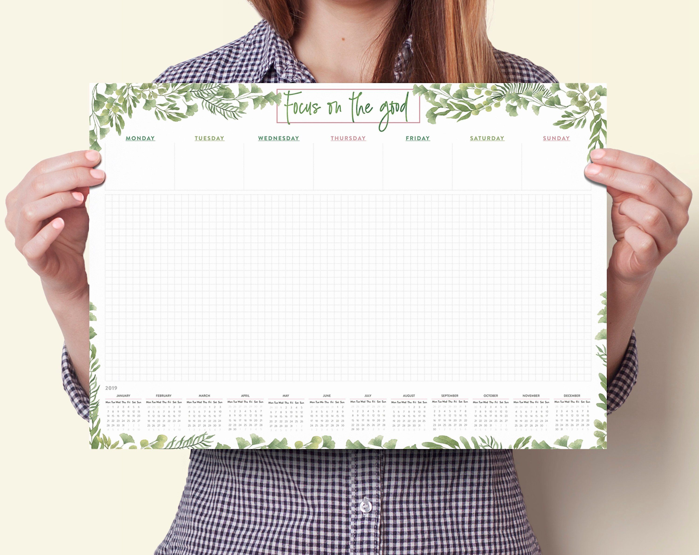 Desk Planner 2019 A3 Desk Pad 2019 Desk Pad Calendar 2019 Etsy Desk Calendar Pad Note Pad Design Desk Pad