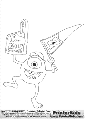 Monsters University - Mike Cheering With Flag and Glove - Coloring ...