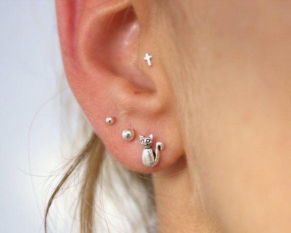 Cross Tragus Piercing Tiny Earring Nose Stud Small Cartilage Tragu