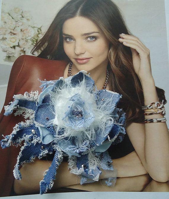 Denim flower, fabric flower, denim jewelry, denim brooch, denim  jeans rose, jeans brooch,gift for her