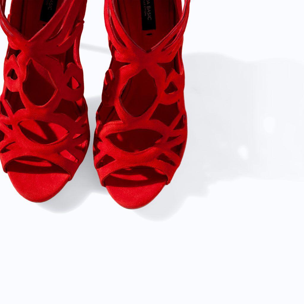 Ultima Pelle Zara Sandalo Avvolgente Lacci Tacco Bedocxwr Settimana uKcl3TF1J