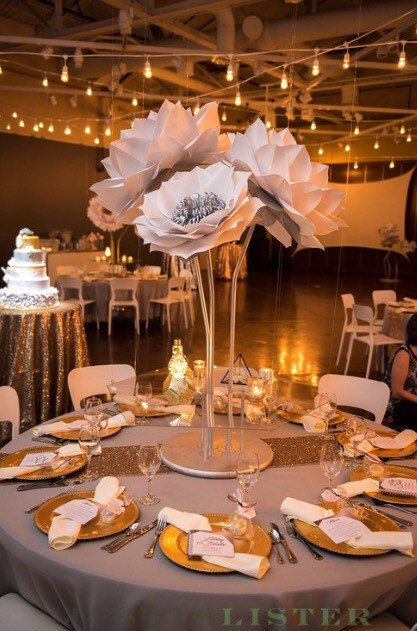 these beautiful 36 inch tall paper flowers on stems make a perfect centerpiece for your next party or event these can be made in any color combination