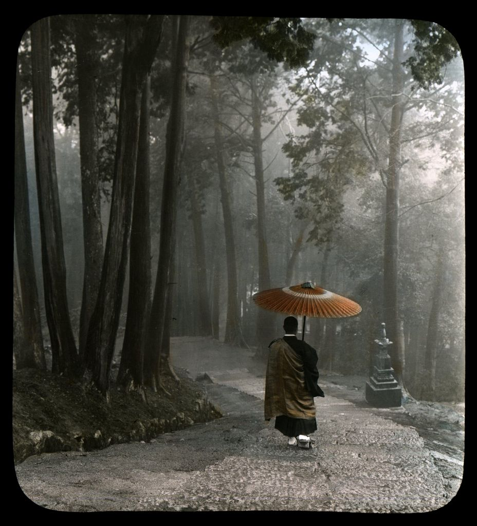 https://flic.kr/p/4BuP17 | MONK DESCENDING TEMPLE STEPS -- Light Breaks Through Clouds After a Morning Rain | This photograph on glass is a hundred years old, but looks like it could have been taken yesterday. The eye and heart of a good photographer is the same in any age. Ca.1900-1910 Hand-tinted Glass Lantern Slides sold by T. TAKAGI of KOBE. Photos attributed to KOZABURO TAMAMURA of Yokohama, who sold his negative stock and Kobe branch studio to Takagi. Takagi also published many…