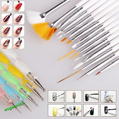 20pcs Nail Art Design Set Dotting Painting Drawing Polish Brush  Pen Tools New - BUY NOW ONLY 3.59