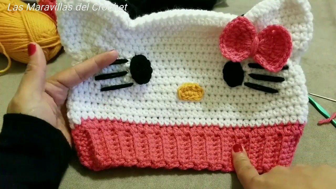 3d9bb781baa91 Gorro Hello Kitty a Crochet