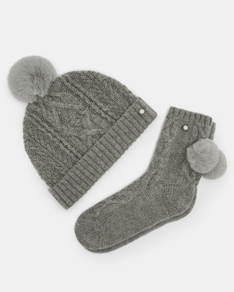 246c8f122a42e Knitted wool pom pom hat and socks set - Grey