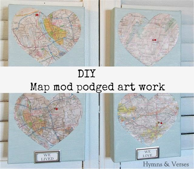 #map #diy #art work, using #mod #podge.