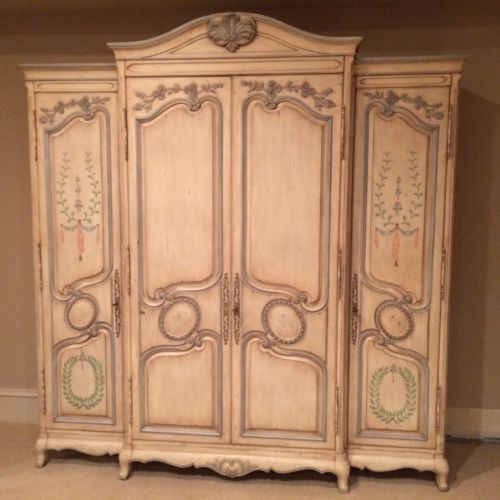 karges country french grand armoire attique white with. Black Bedroom Furniture Sets. Home Design Ideas