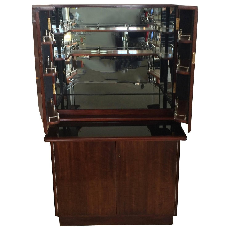Art Deco Mahogany Cocktail And Bar Cabinet