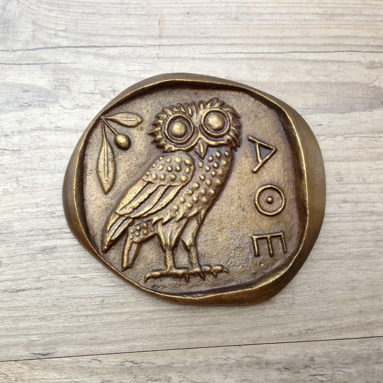 Bronze Paperweight Greek Owlgoddess Athena Symbol Museum Quality
