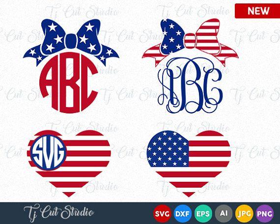 American Flag Monogram Frames 4th Of July Svg Memorial Day 4th Of July Bow Svg 4th Of July Svg Fourth Of July Monogram Bow American Flag Monogram Monogram