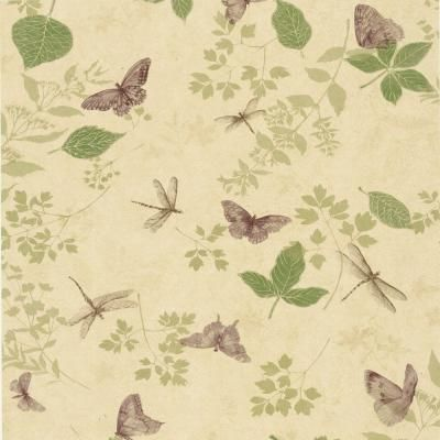 The Wallpaper Company 56 sq. ft. Purple Bugs and Leaf Wallpaper-WC1283752 at The Home Depot  For part of the dining room?? The rest could be that green color…