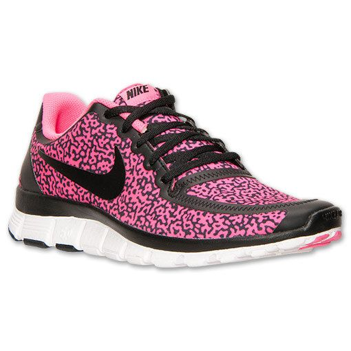 56eeddb4df53 Nike Free Run 5.0 V4 Shoes - Black   Hyper Pink - Leopard Cheetah Design -