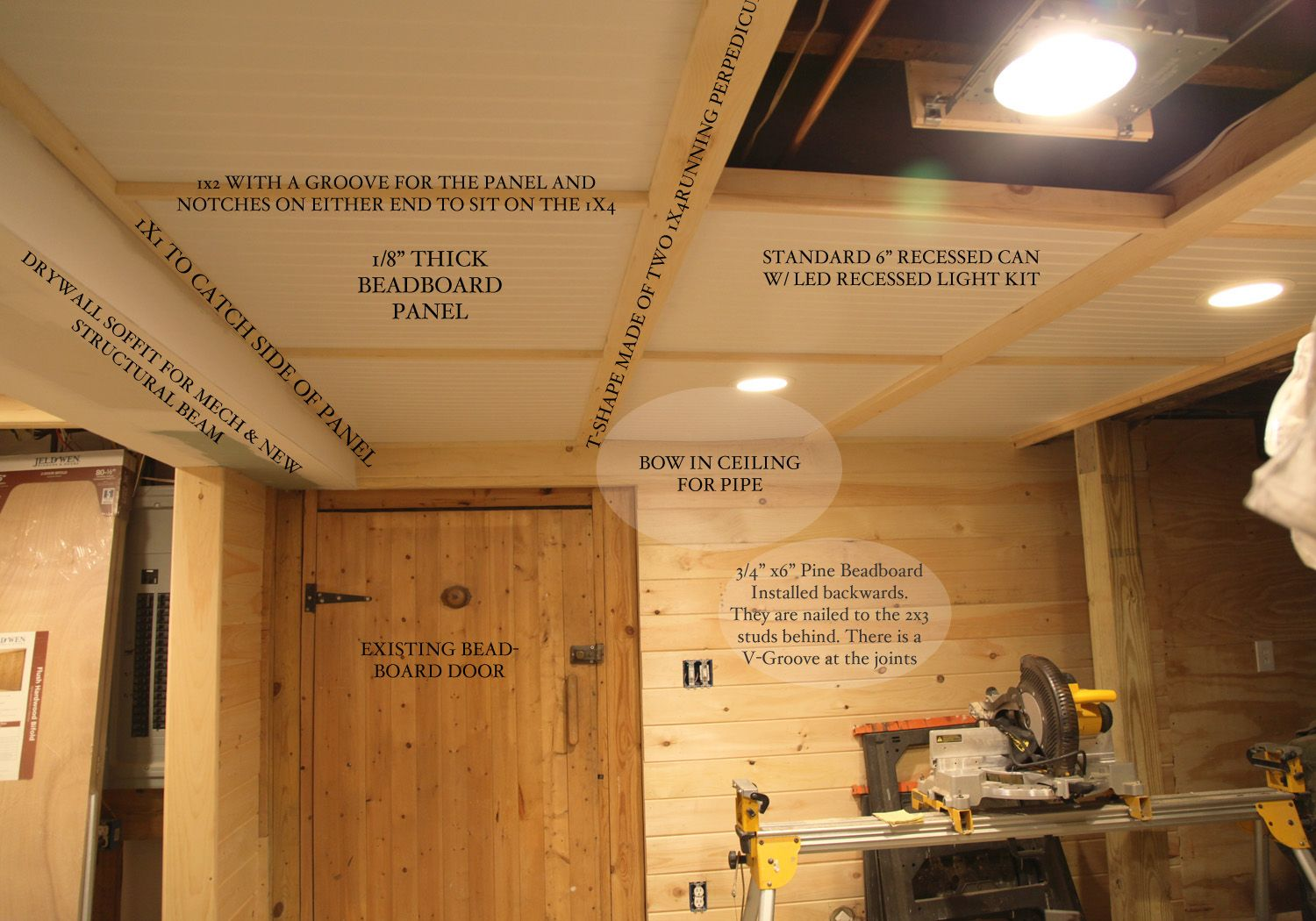 Basementceiling Details Beadboard In Every Possible Type Basement Ceiling Diy Basement Basement Ceiling Ideas Cheap