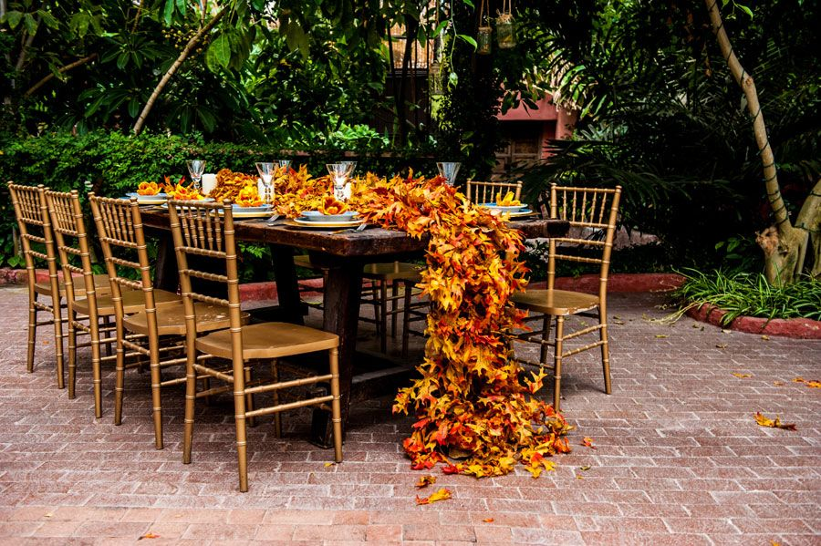 Gorgeous Fall Wedding Inspiration Including This Floor Length Table Runner  Made Of Leaves Http:/