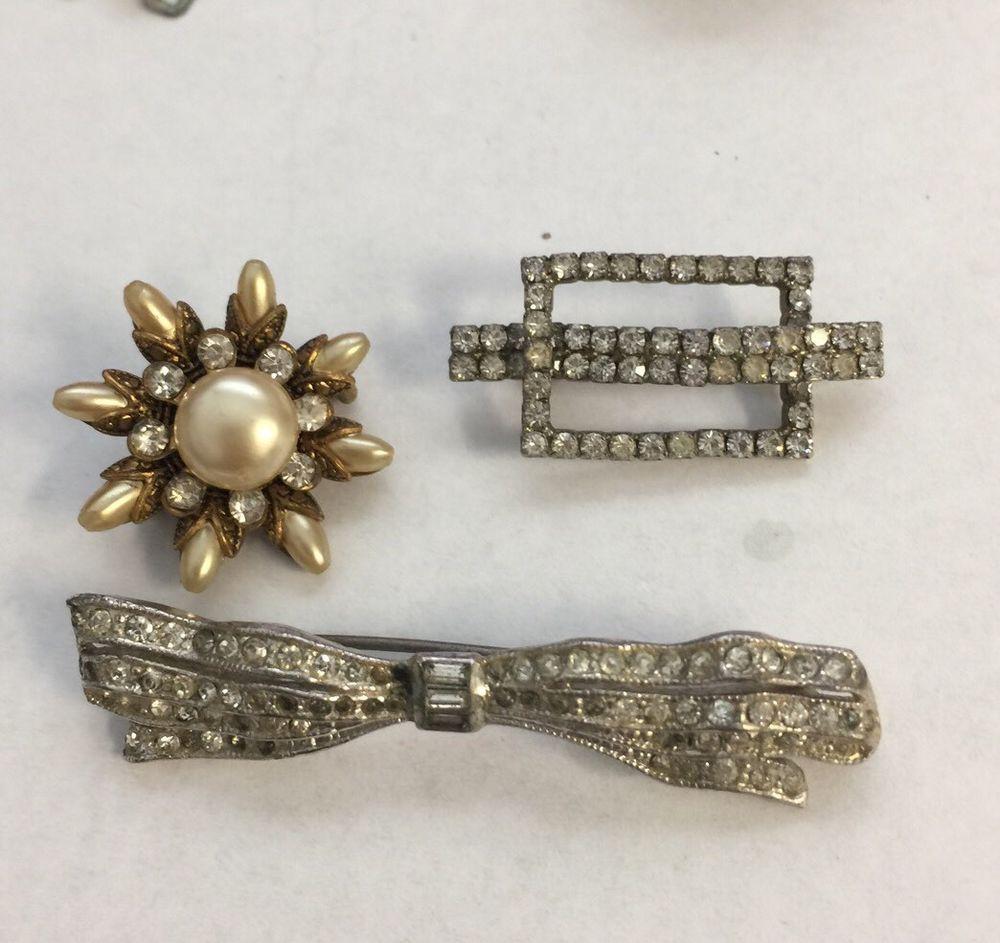 Antique Rhinestone Pearl Brooch Lot Vintage Pin Jewelry     eBay