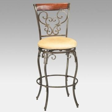 Hillsdale 30 In Knightsbridge Swivel Bar Stool With Wood Metal Back Traditional Bar Stools And Counter St With Images Iron Bar Stools Metal Bar Stools Designer Bar Stools
