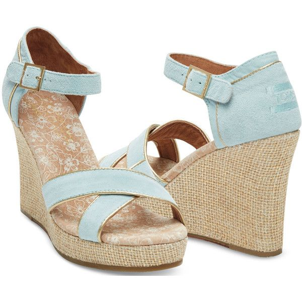 03cd6215f0a TOMS Light Blue Suede Gold Trim Women's Strappy Wedges ($83 ...
