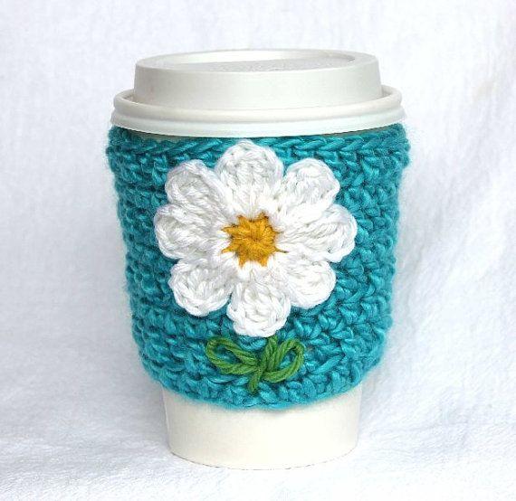 Daisy travel mug cup cozy coffee crochet turquoise   crochet ...