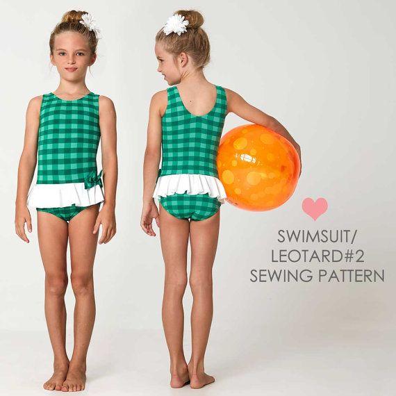 swimsuit pattern, swimwear pattern, girls leotard pattern PDF ...