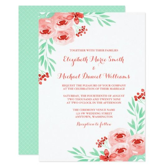 Coral And Mint Watercolor Floral Wedding Invitation Zazzle Com