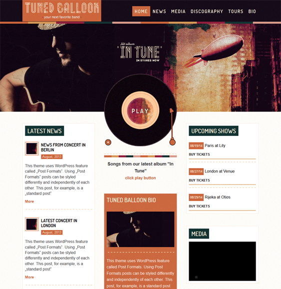 This music WordPress theme offers a responsive layout, easy color ...