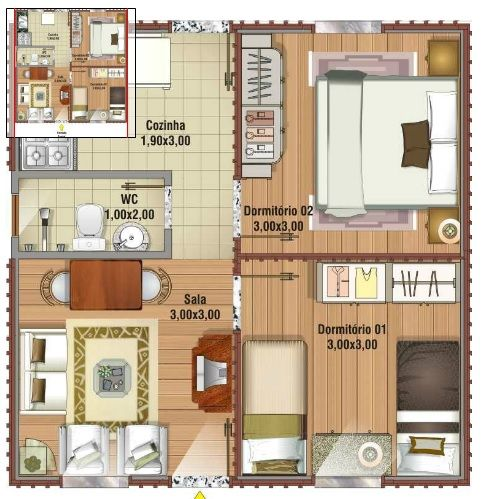 planos de casas pequenas de 40 metros
