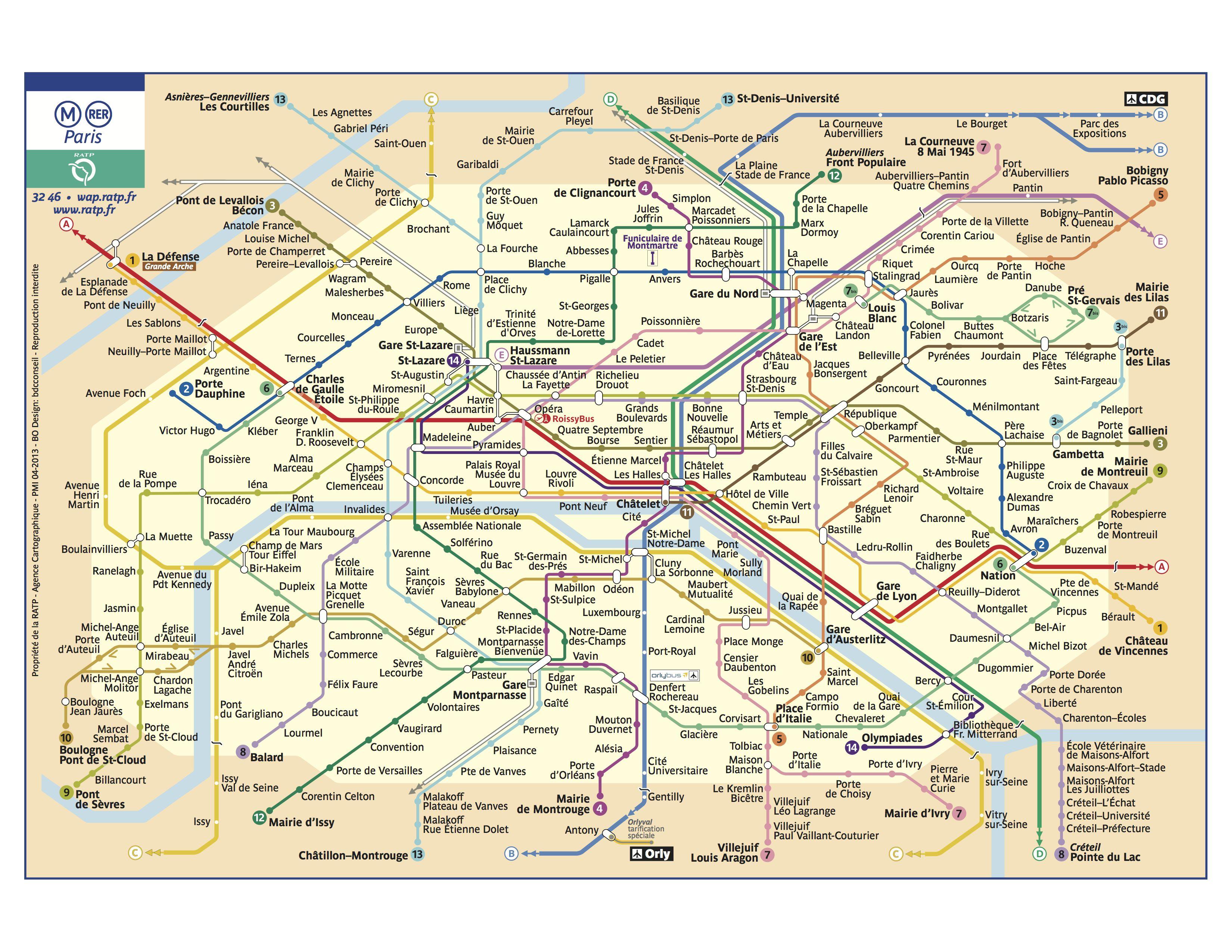 Map Subway Paris.This Ratp Paris Metro Rer Map Covers All 14 Metro Lines 16 If You Include The Bis Lines And The 5 Regional Train Line Paris Metro Map Paris Metro Paris Map