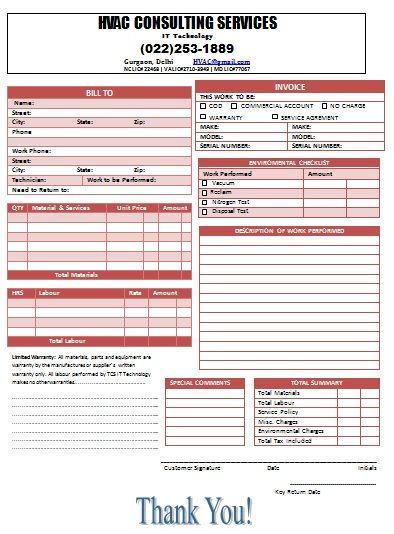 Invoice Template For Hvac | Hvac Invoice Templates | Pinterest