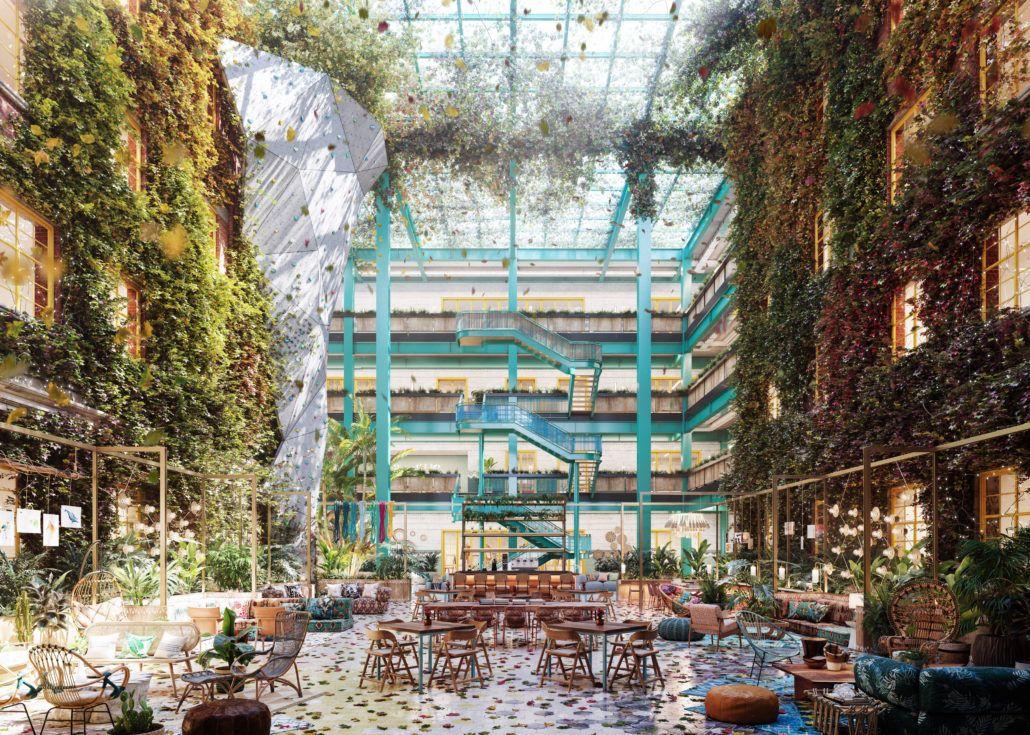 Renderings Inspired On Wework Offices In Shangai By Linehouse Interior Design Based Justina Blakeney